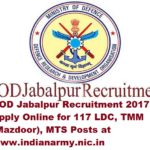 COD Jabalpur Recruitment 2017 Apply Online for 117 LDC, TMM, MTS Posts at www.indianarmy.nic.in