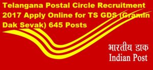 Telangana Postal Circle Recruitment 2017 Apply Online for TS GDS (Gramin Dak Sevak) 645 Posts