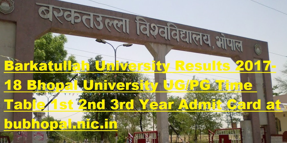 Barkatullah University Results 2017-18 Bhopal University UG/PG Time Table 1st 2nd 3rd Year Admit Card at bubhopal.nic.in