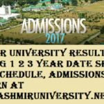Kashmir University Result 2017-18 UG PG 1 2 3 Year Exam Date sheet, Exam Schedule, Admissions