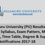 Palamuru University (PU) Results, Hall Ticket, Syllabus, Exam Pattern, Model Papers 2017-18
