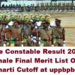 UP Police Constable Result 2017 Male/Female Final Merit List, Cutoff at uppbpb.gov.in