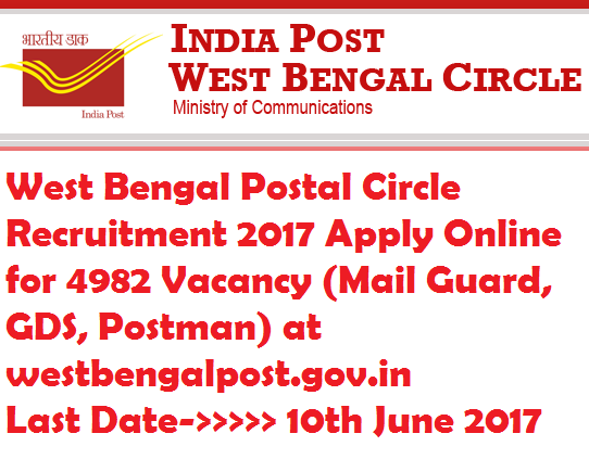 West Bengal Postal Circle Recruitment 2017 Apply Online for 4982 Vacancy (Mail Guard, GDS, Postman)