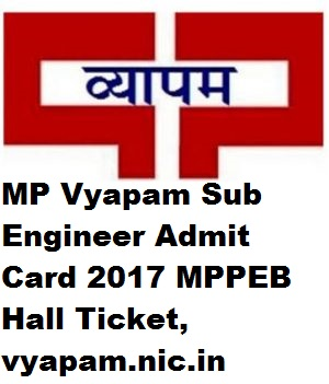 MP Vyapam Sub Engineer Admit Card 2017 MPPEB Hall Ticket, vyapam.nic.in