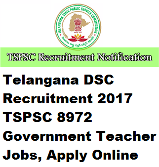 Telangana DSC Recruitment 2017 TSPSC 8972 Government Teacher
