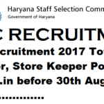 HSSC Recruitment 2017 Total 508 Instructor, Store Keeper Posts at hssc.gov.in