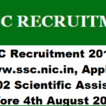 SSC Recruitment 2017, ssc.nic.in, Apply Online for 1102 Scientific Assistant Posts